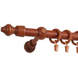 karnisz drewniany w kolorze brązowym
